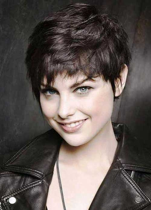 Shaggy Dark Brown Pixie Haircuts