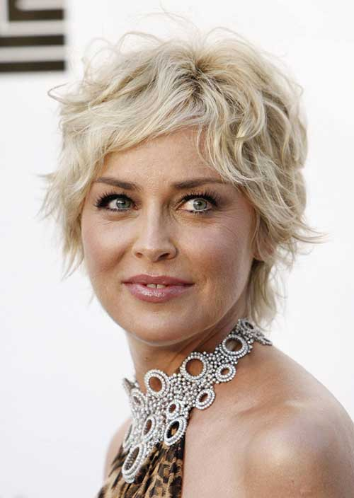 Sharon Stone Short Curly Pixie Hair
