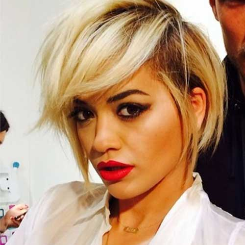 Rita Ora Short Edgy Bob Haircuts