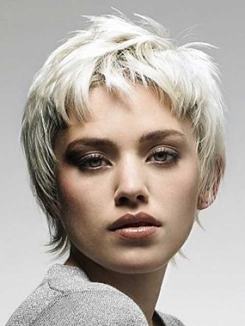 White Blonde Shaggy Pixie Haircuts