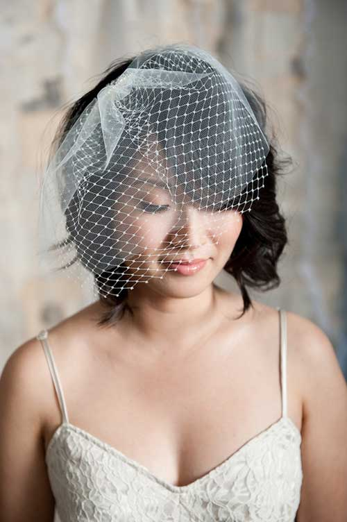Short Bob Wedding Hairstyles with Veil