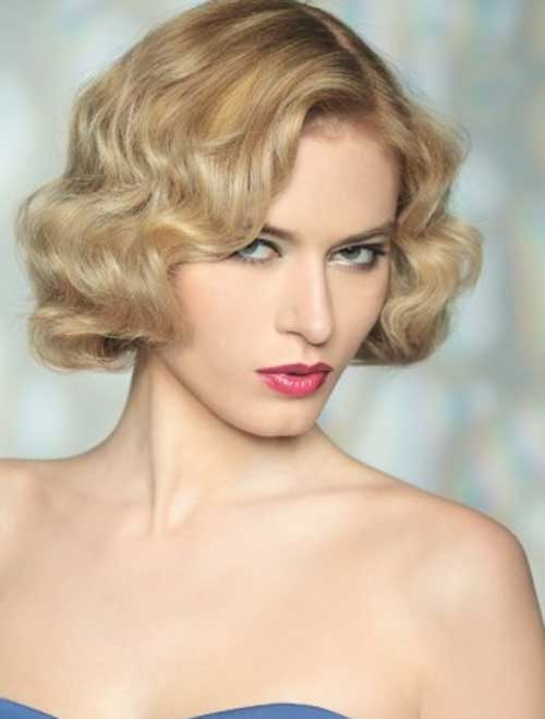 Wedding Short Curly Bob Blonde Hairstyles