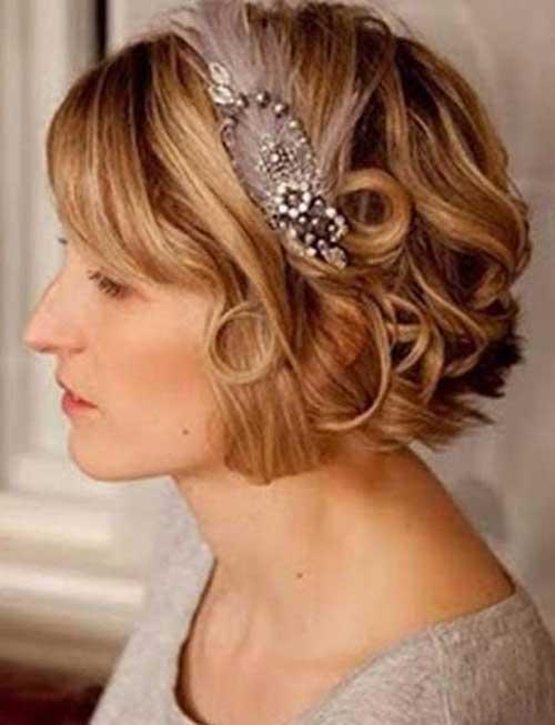 Wedding Short Curly Bob with Headband Idea