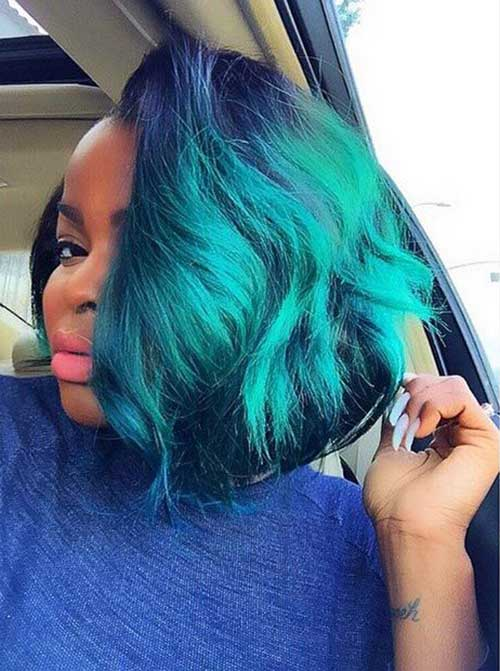 Blue Bob Hairstyles on Black Women