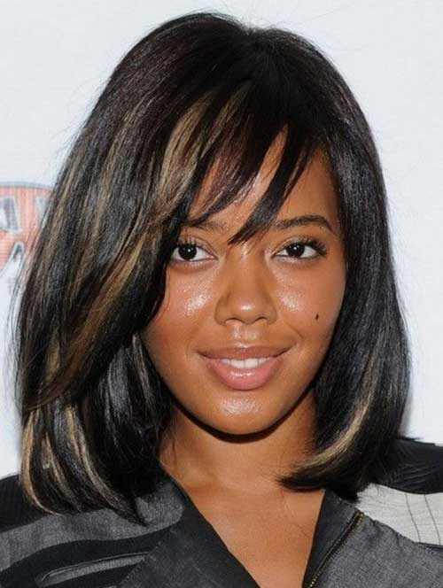 Bob Hairstyles with Thin Bangs for Black Women