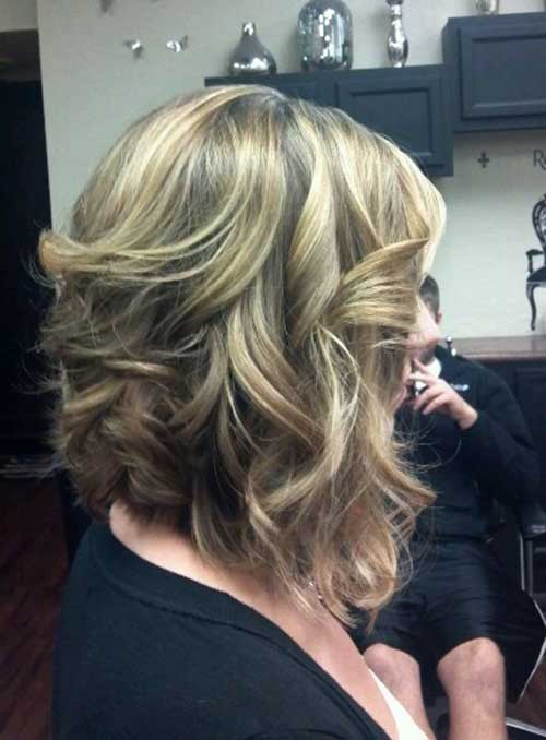 Curly Long Inverted Bob Hairstyles