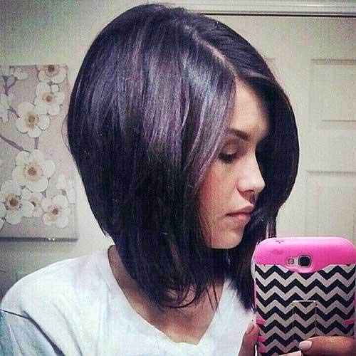 Dark Hair Long Inverted Bob Hairstyles
