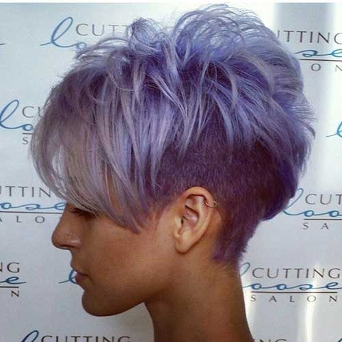 Funky Short Hair Purple Color