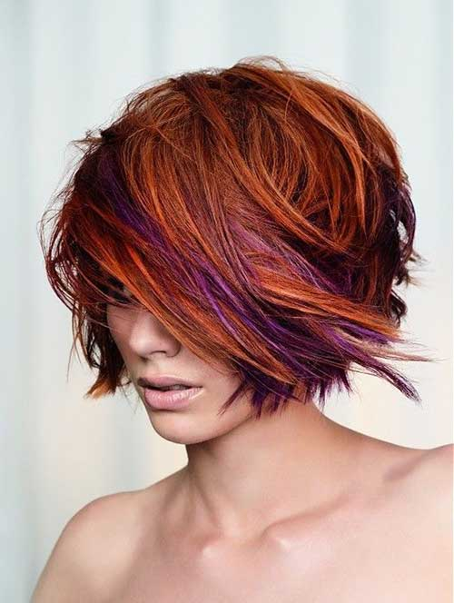 Best Funky Short Orange Purple Hair Styles