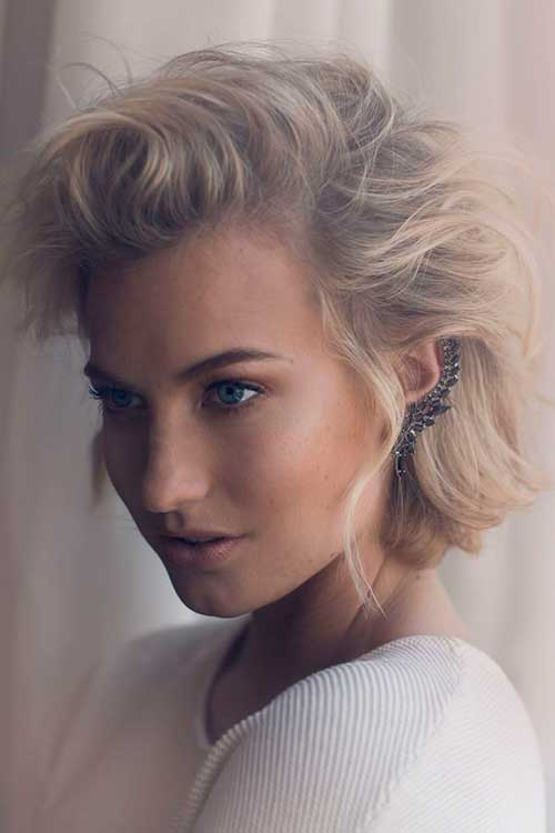 Half Up Short Blonde Bob