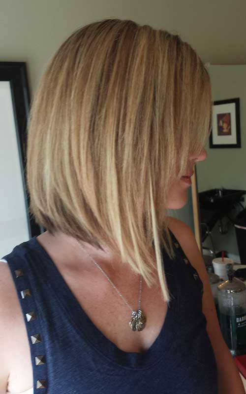 Long Inverted Bob Blonde Straight Hairstyles