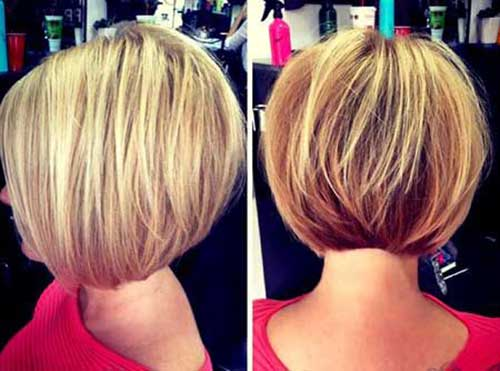 Short Stacked Blonde Bob Hair