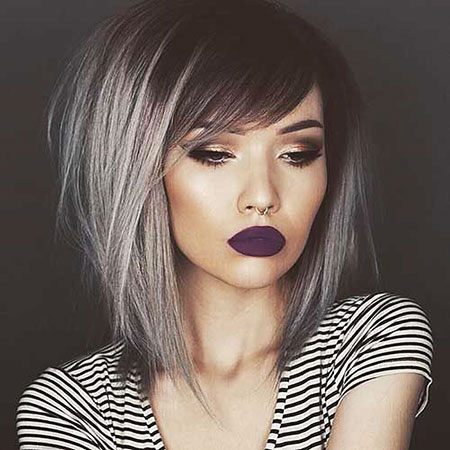 Bob Hairstyles with Bangs, Bob, Ombre, Grey, Colors