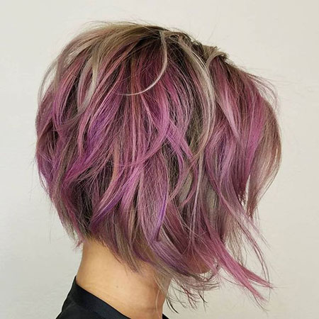 Purple Hair, Bob, Purple, Modern, Layers
