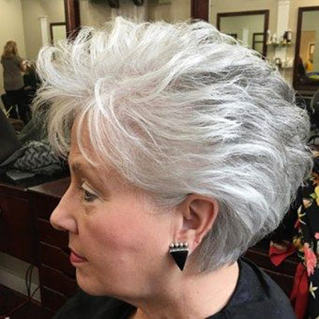 Grey Hair, Older, Women, Pixie, Gray