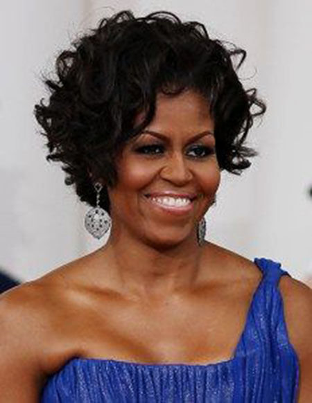 Michelle Obama, Curly, Women, Black, Over
