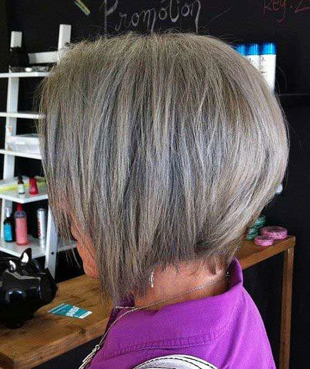 Grey Hair, Bob, Women, Inverted, Older