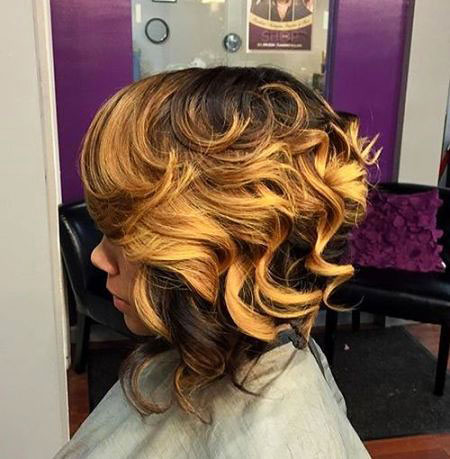 Inverted Hair, Women, Long, Curls, Bob
