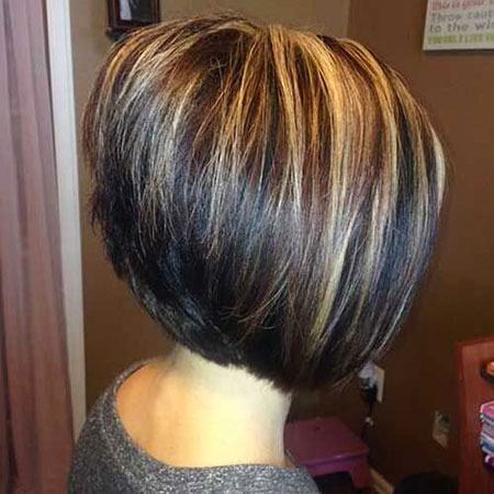 Short Hair, Bob, Highlights, Stacked