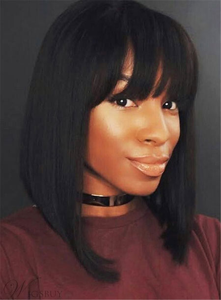 Full Fringe, Bob, Women, Black, Bangs