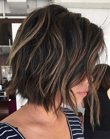 Short Hair, Bob, Choppy, Brown, Balayage