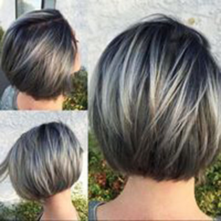 Straight Hair, Bob, Gray, Women, Layered