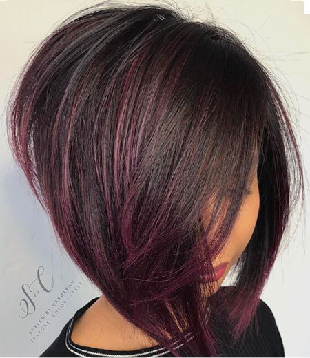 Dark Hair, Bob, Highlights, Dark, Textured