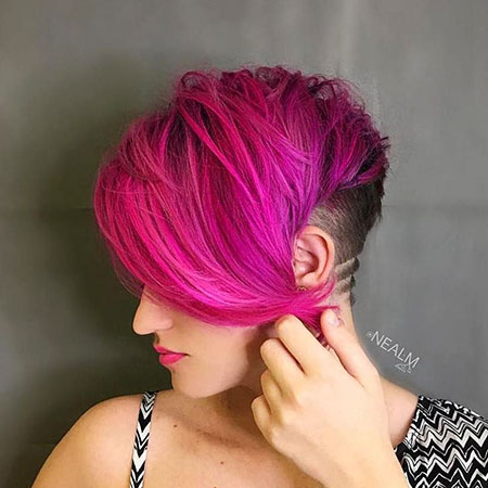 Long Bangs, Purple, Shaved, Pixie, Pink