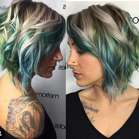 Blonde Blue Hair, Layered, Curly, Balayage, World