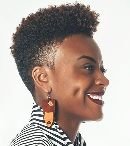 Side Shaved, Natural, Black, Women, Twa