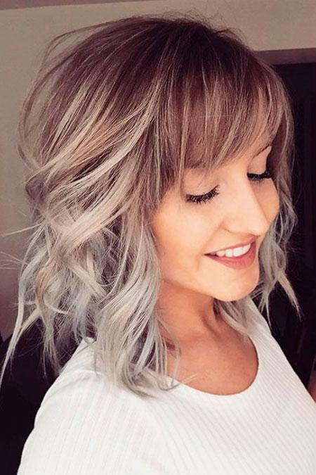 Silver Hair, Blonde, Bob, Balayage, Women