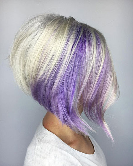 Purple Hair, Purple, Bob, Blonde, Stacked
