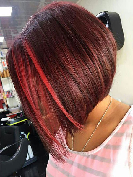 Red Hair, Red, Bob, Highlights, Angled