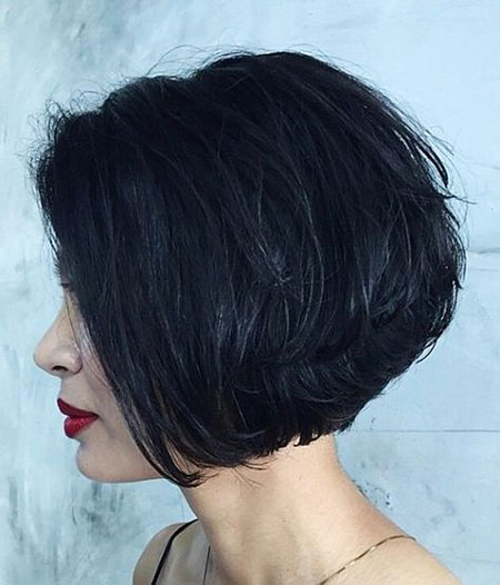 Black Hair, Bob, Layered, Black, 50