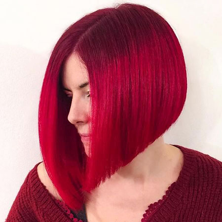 Straight Hair, Red, Bob, Angled, 40