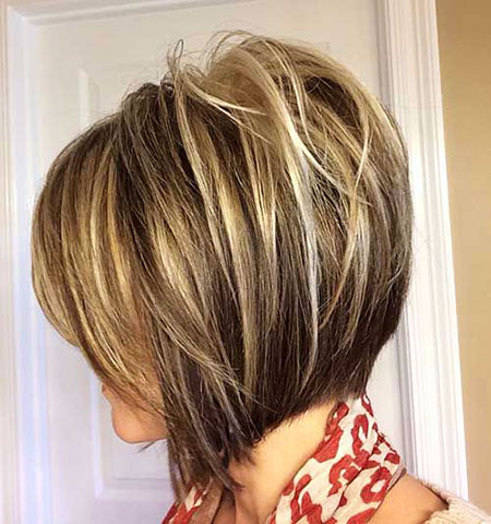 Layered Blonde Balayage, Bob, Layered, Balayage, Inverted