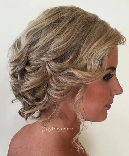 Medium Leght Hair, Wedding, Updo, Curly, 40