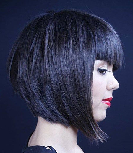 Classic Bob Hair, Bob, Line, Bangs, Purple