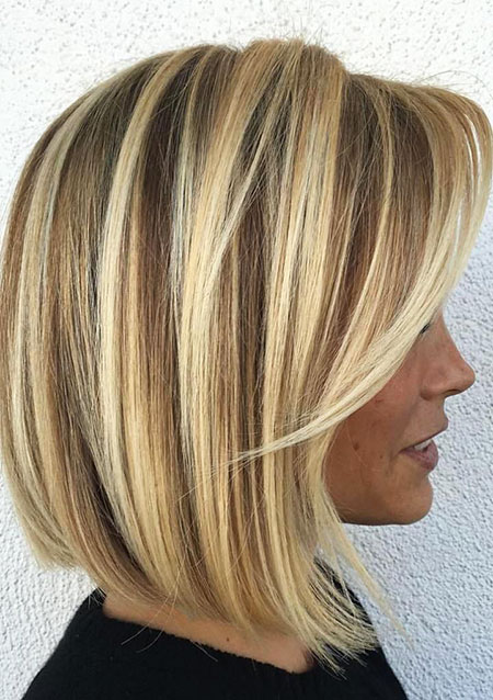 Fine, Bob, Blonde, Balayage, Highlights