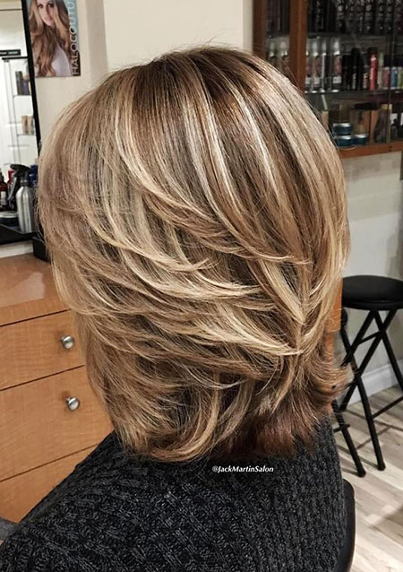 Simple Hair, Blonde, Women, Layered, Highlights