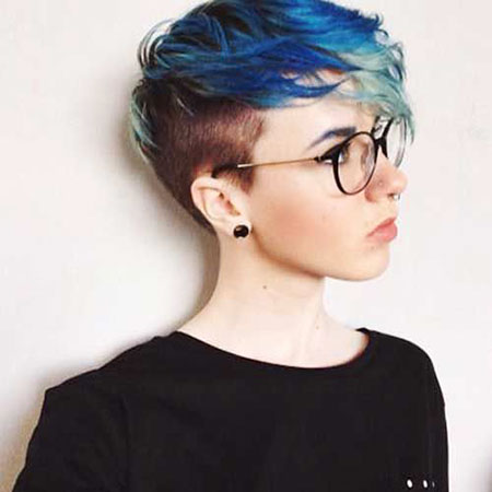 Blue Hair, Shaved, Pixie, Sides, Side