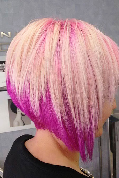 Pink Stacked Bob Haircut, Bob, Stacked, Pink, Trendy
