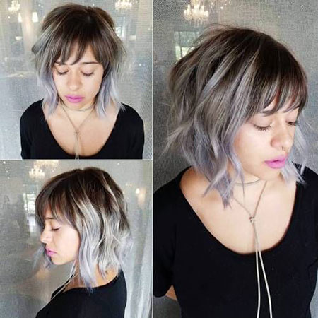 Gray Hair, Bob, Gray, Choppy, Balayage