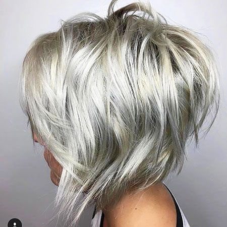 2017 Blonde Balayage Layered Bob Wavy