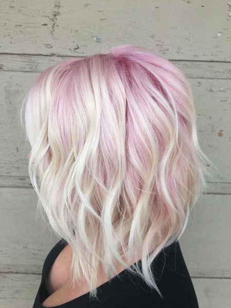 Blonde Pink Gold Bob Wavy Rose
