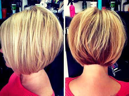Layered Stacked Bob Straight Round İnverted Graduated Blonde , Stacked Bob