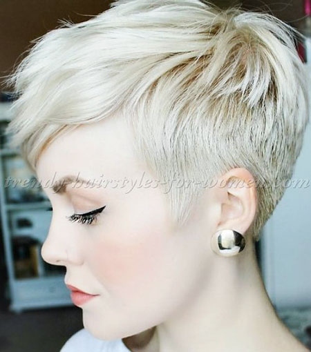 Pixie Blonde Medium Length Layers Bangs 2017 , Pixie Hair Layers