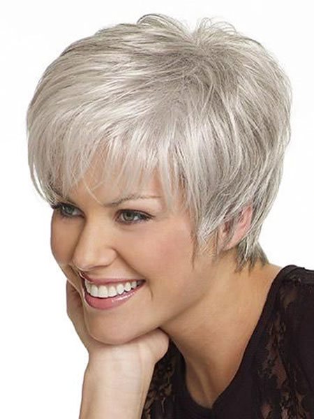 Straight, Grey, Women, Wig, Silver, Over