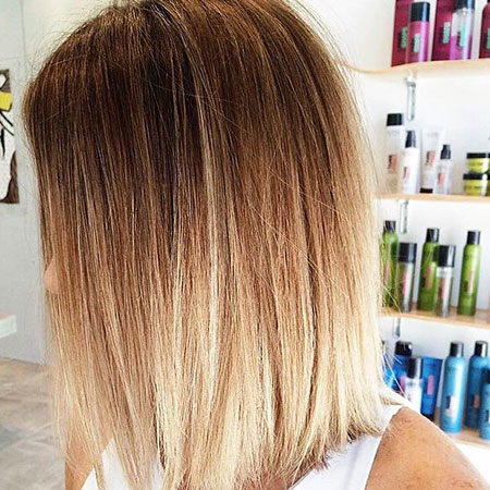 Bob, Ombre, Long, Straight, Color, Blonde