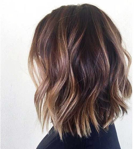 Short Hairtyles for Wavy Hair, Balayage Brown Hair Wavy